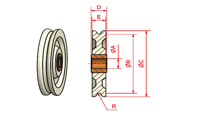 MP pulley with plain bearing